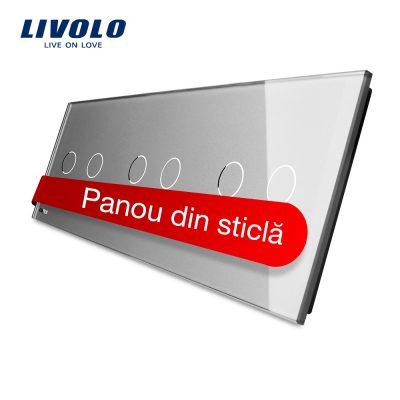 Panou intrerupator dublu+dublu+dublu cu touch Livolo din sticla culoare gri