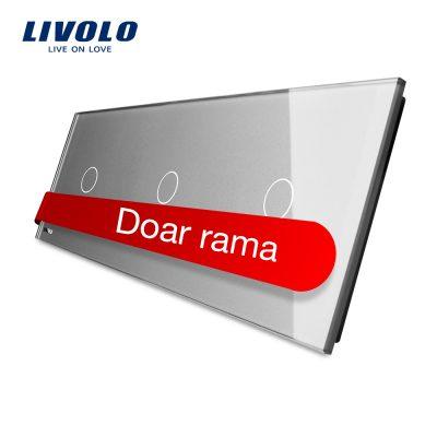 Panou intrerupator simplu+simplu+simplu cu touch Livolo din sticla culoare gri