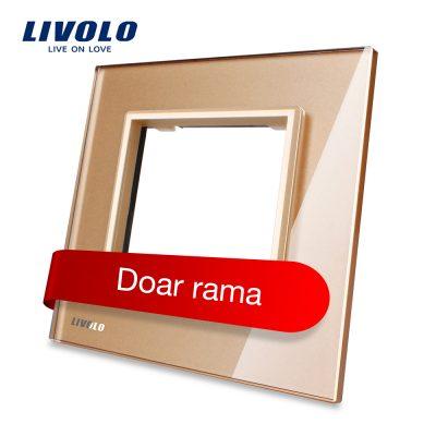 Rama priza simpla Livolo din sticla culoare aurie