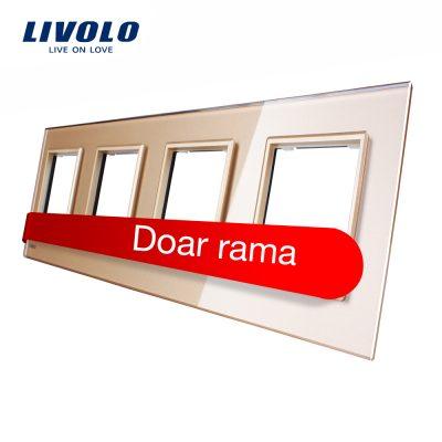 Rama priza cvadrupla Livolo din sticla culoare aurie