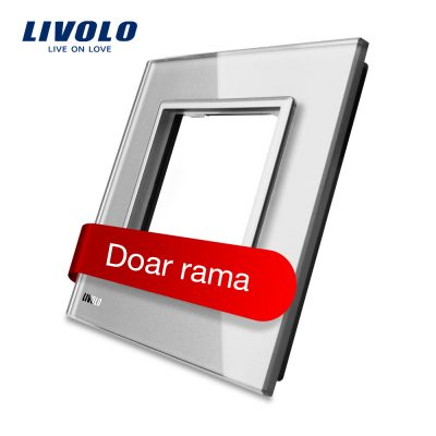 Rama priza simpla Livolo din sticla culoare gri