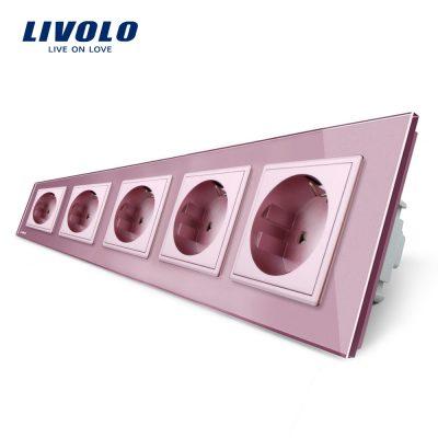 Priza cvintupla Livolo cu rama din sticla culoare roz