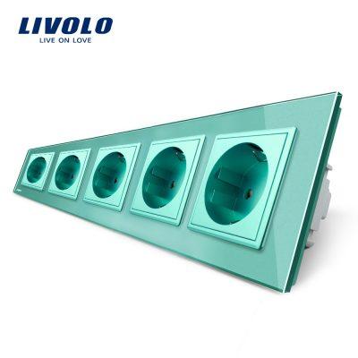 Priza cvintupla Livolo cu rama din sticla culoare verde