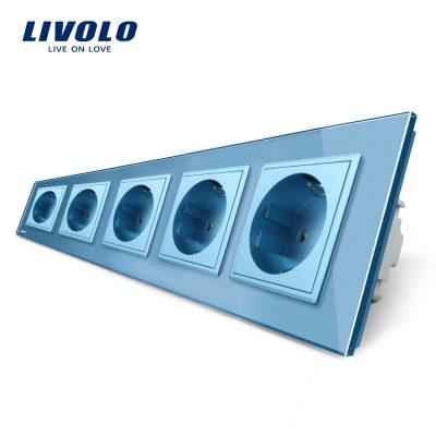 Priza cvintupla Livolo cu rama din sticla culoare albastra