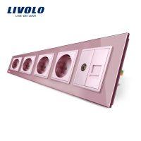 Priza cvintupla + priza TV Internet Livolo cu rama din sticla culoare roz
