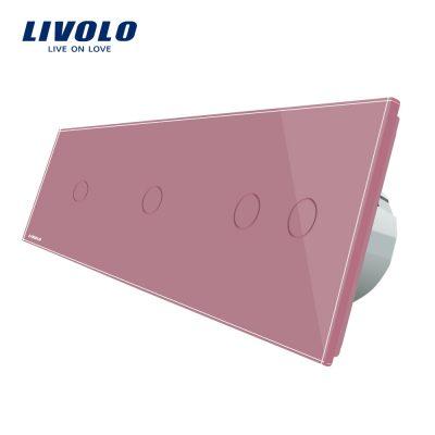 Intrerupator cu touch simplu+simplu+dublu LIVOLO din sticla culoare roz