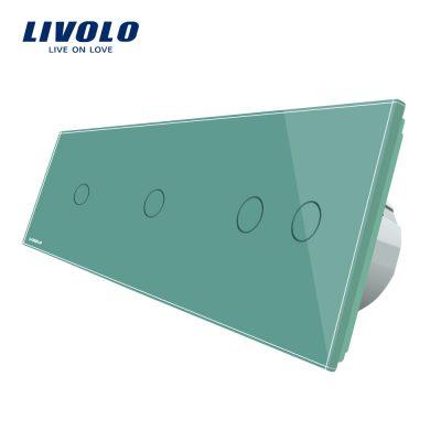Intrerupator cu touch simplu+simplu+dublu LIVOLO din sticla culoare verde