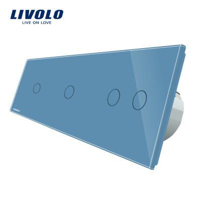 Intrerupator cu touch simplu+simplu+dublu LIVOLO din sticla culoare albastra