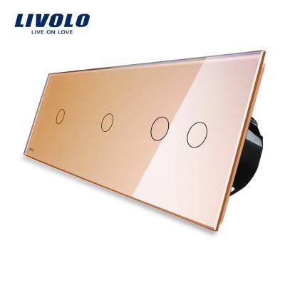 Intrerupator cu touch simplu+simplu+dublu LIVOLO din sticla culoare aurie