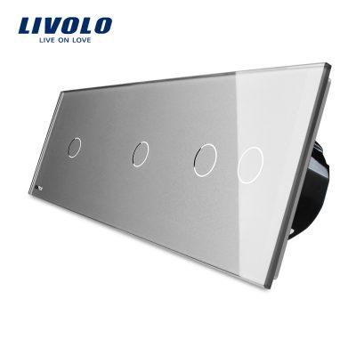 Intrerupator cu touch simplu+simplu+dublu LIVOLO din sticla culoare gri