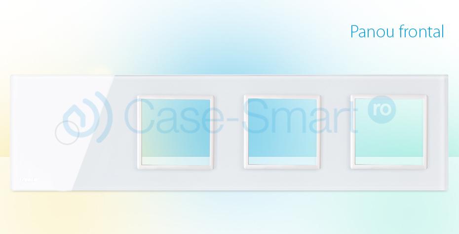 Rama intrerupator cu touch simplu+priza tripla LIVOLO din sticla