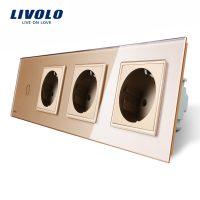 Intrerupator simplu + Priza tripla LIVOLO cu touch din sticla culoare aurie