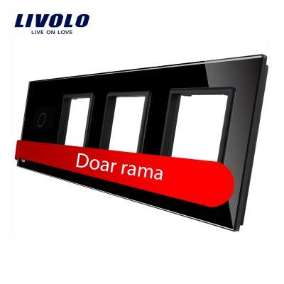 Rama intrerupator cu touch simplu+priza tripla LIVOLO din sticla culoare neagra