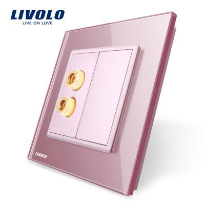 Priza redare sunet LIVOLO cu rama din sticla culoare roz