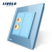 Priza redare sunet LIVOLO cu rama din sticla culoare albastra