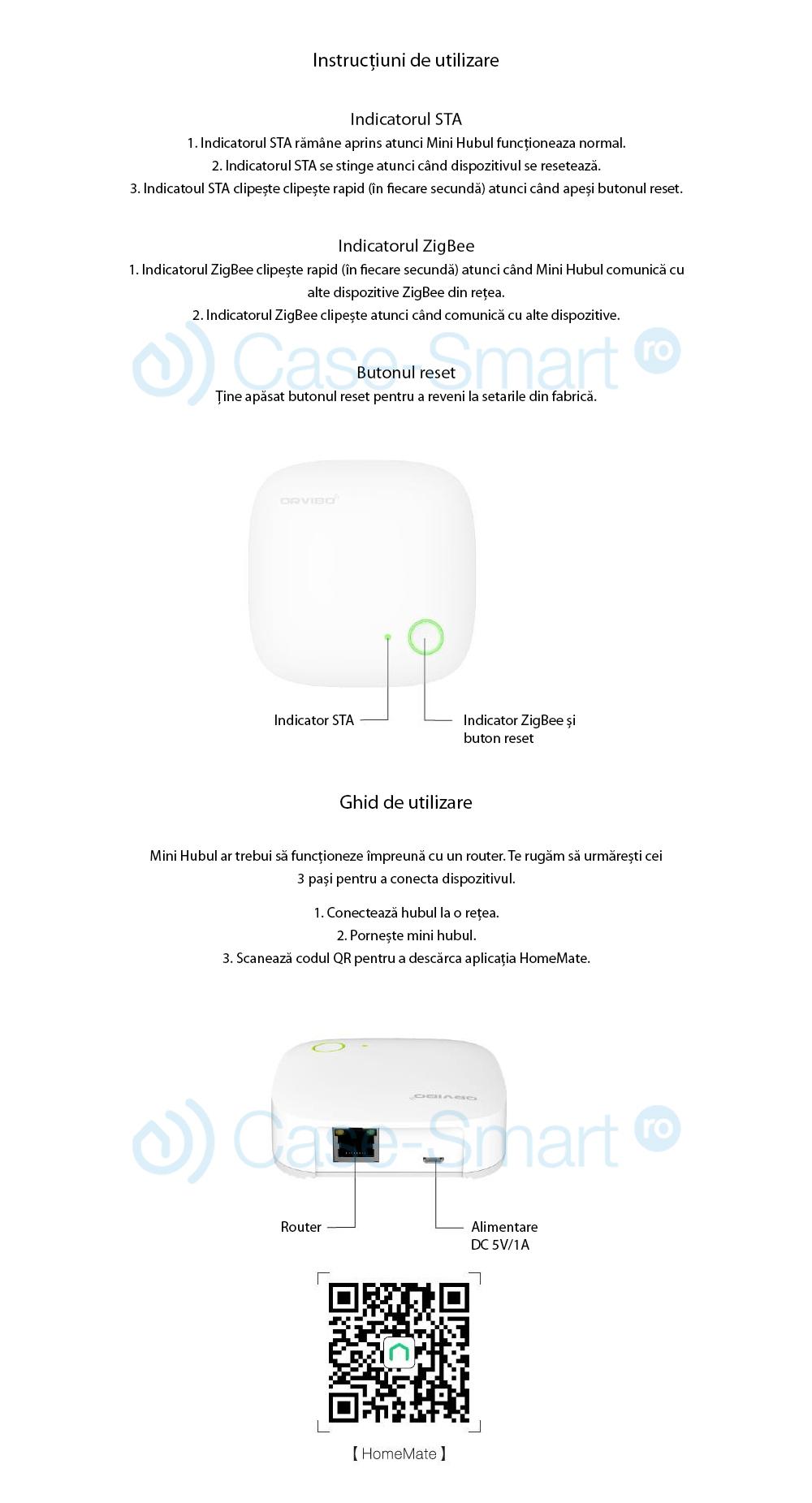 Unitate de control Orvibo WiFi Mini hub cu protocol ZigBee VS20ZW
