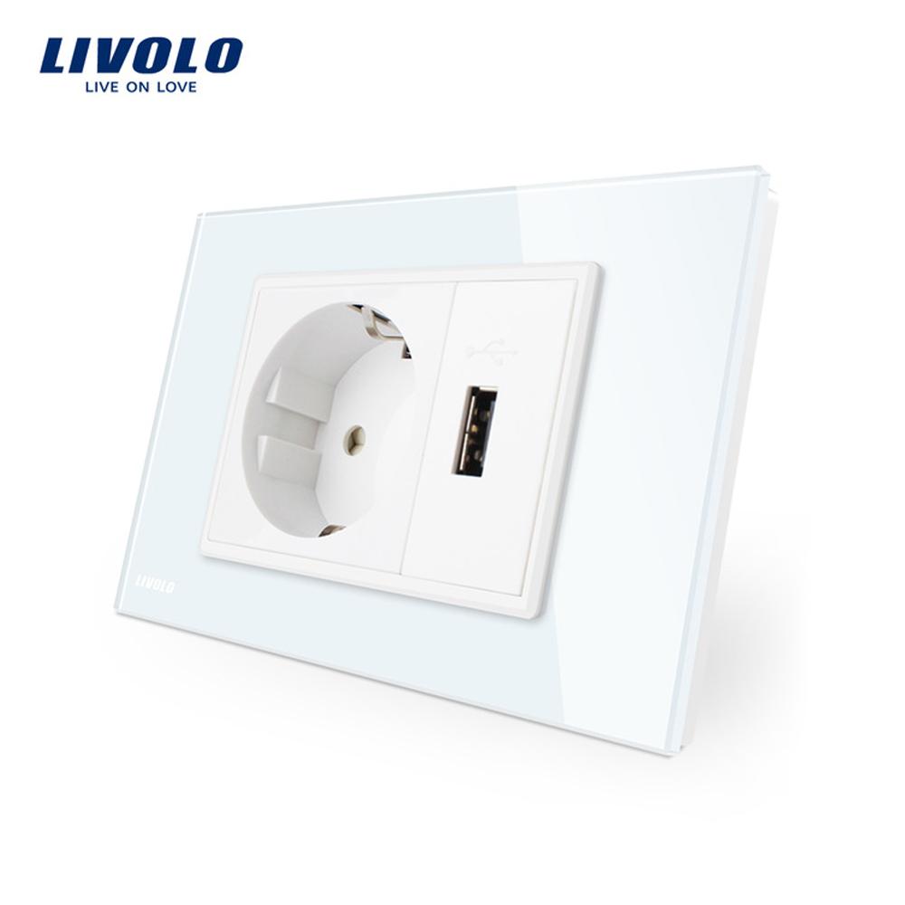 Priza simpla cu USB Livolo standard italian imagine case-smart.ro 2021