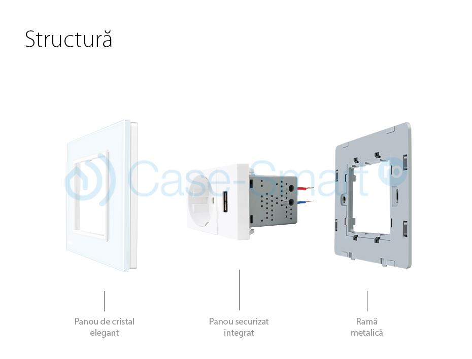 Priza simpla cu USB Livolo standard italian