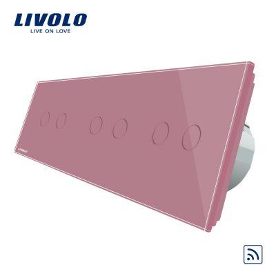 Intrerupator dublu+dublu+dublu cu touch Wireless Livolo din sticla culoare roz