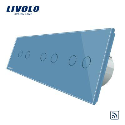 Intrerupator dublu+dublu+dublu cu touch Wireless Livolo din sticla culoare albastra
