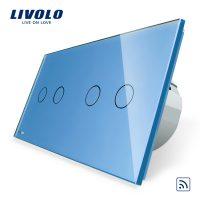 Intrerupator dublu + dublu cu touch Wireless Livolo din sticla culoare albastra