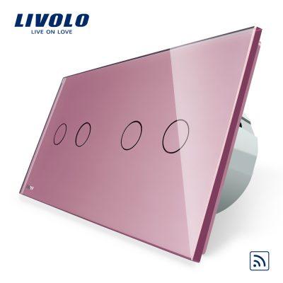 Intrerupator dublu + dublu cu touch Wireless Livolo din sticla culoare roz
