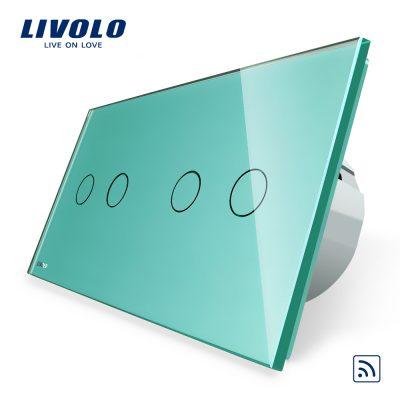 Intrerupator dublu + dublu cu touch Wireless Livolo din sticla culoare verde