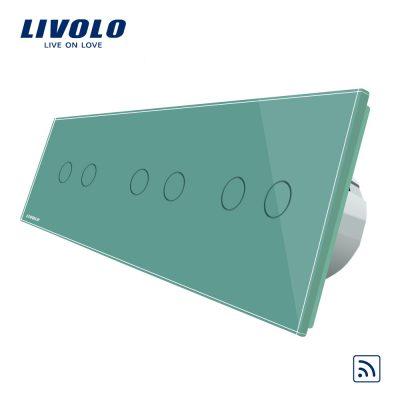 Intrerupator dublu+dublu+dublu cu touch Wireless Livolo din sticla culoare verde