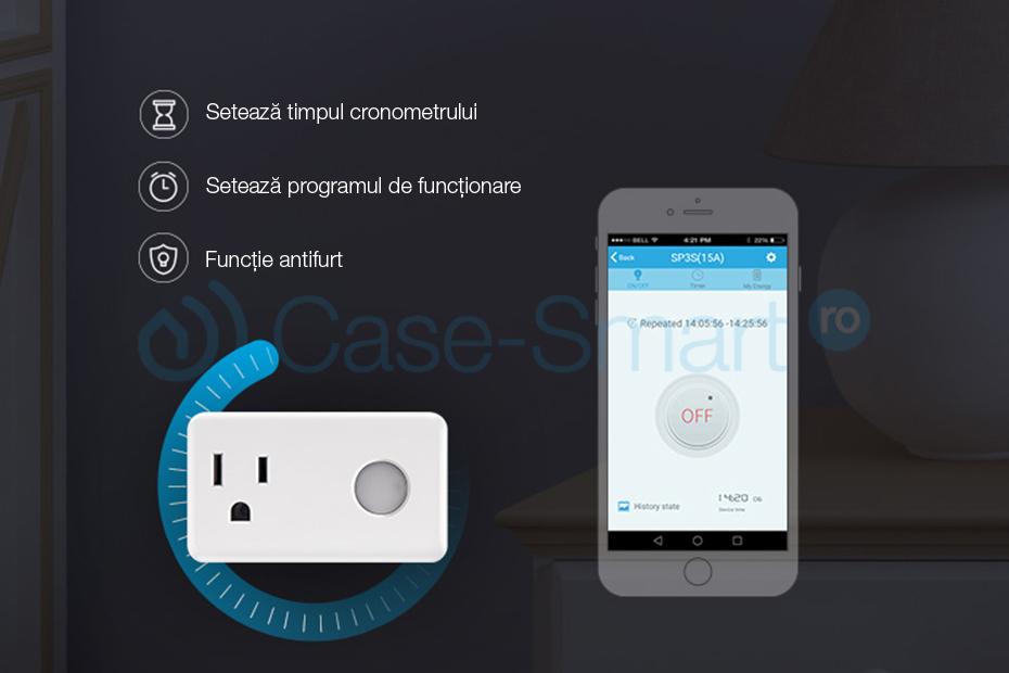 Priza inteligenta programabila BroadLink SP3 Wi-Fi, Control de pe telefonul mobil