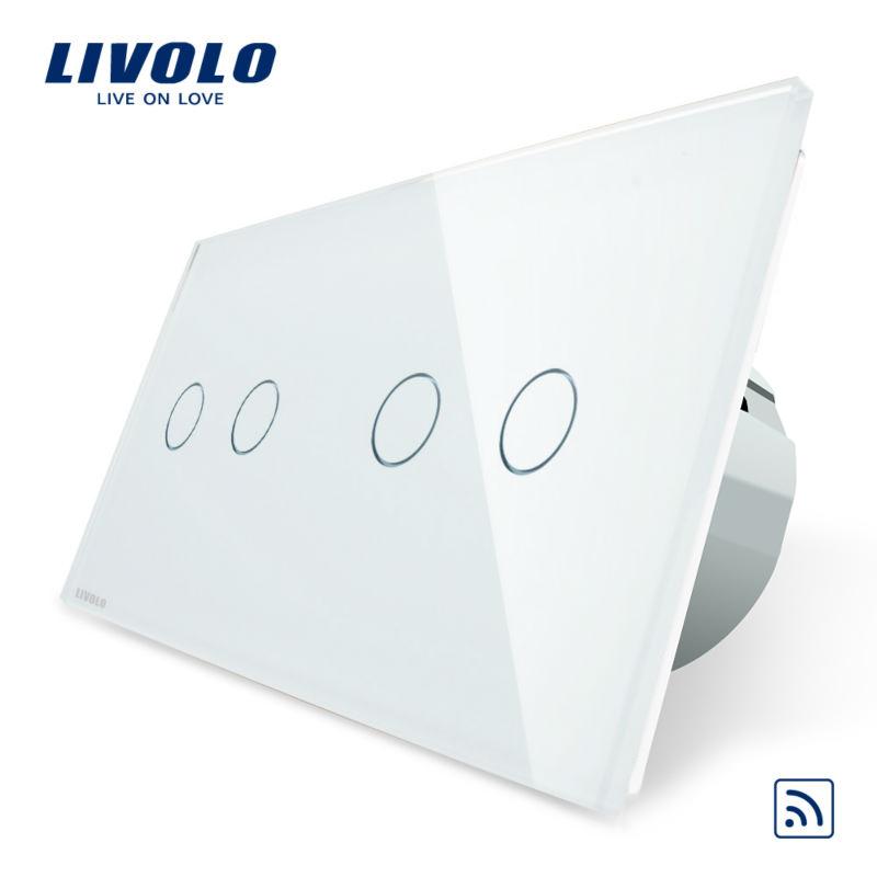 Intrerupator dublu + dublu cu touch Wireless Livolo din sticla imagine case-smart.ro 2021