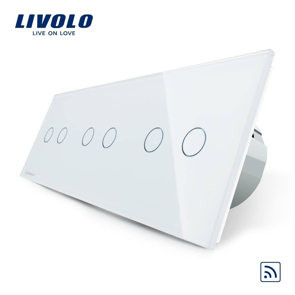 Intrerupator dublu+dublu+dublu cu touch Wireless Livolo din sticla imagine case-smart.ro 2021