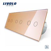 Intrerupator dublu+dublu+dublu cu touch Wireless Livolo din sticla culoare aurie