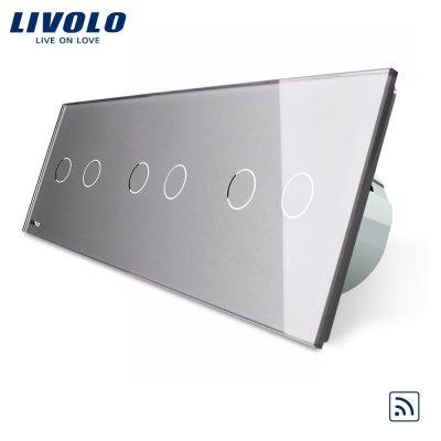 Intrerupator dublu+dublu+dublu cu touch Wireless Livolo din sticla culoare gri