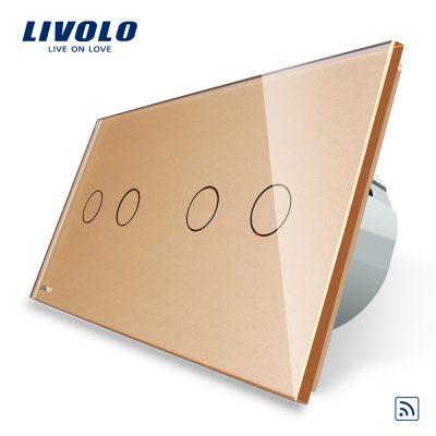 Intrerupator dublu + dublu cu touch Wireless Livolo din sticla culoare aurie