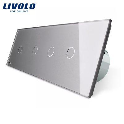 Intrerupator LIVOLO cu touch din sticla cu 4 intrerupatoare simple culoare gri
