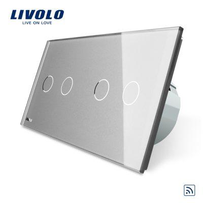 Intrerupator dublu + dublu cu touch Wireless Livolo din sticla culoare gri