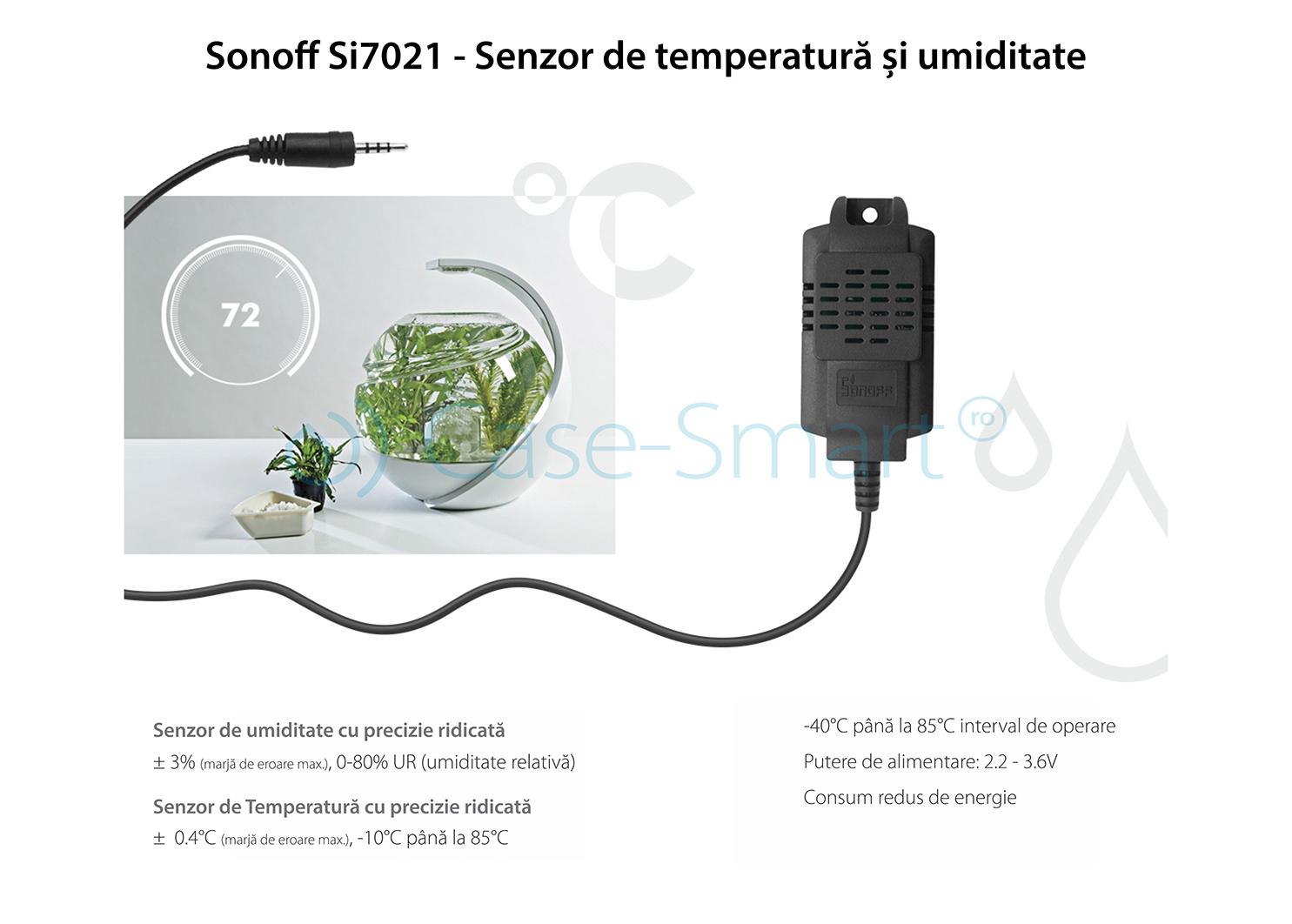 Releu pentru temperatura si umiditate 16A Sonoff TH16