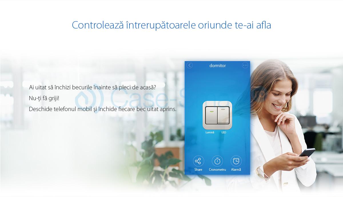 Intrerupator dublu cu touch Sonoff – WiFi, Control de pe telefonul mobil