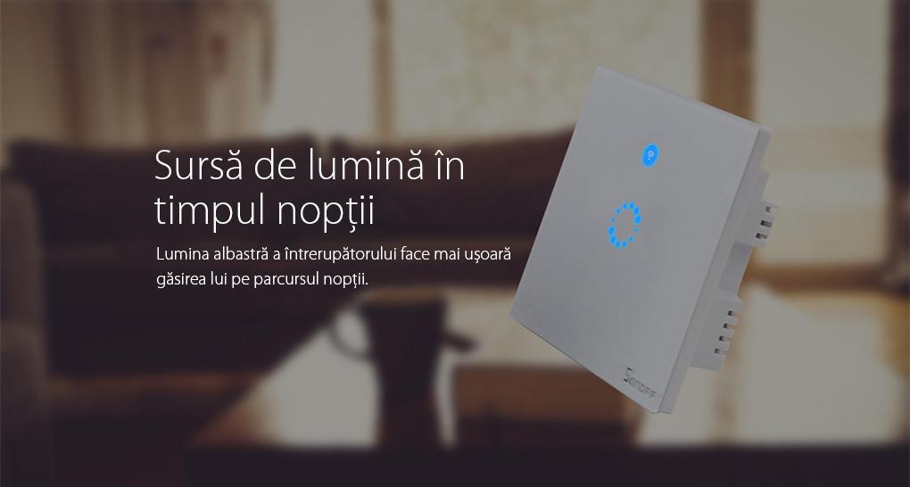 Intrerupator simplu cu touch Sonoff – WI-FI, Control de pe telefonul mobil