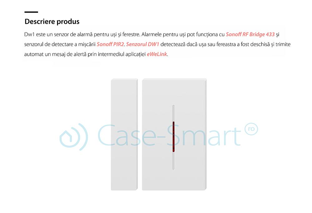 Senzor Sonoff DW1 433 Mhz pentru usi si ferestre compatibil cu RF Bridge