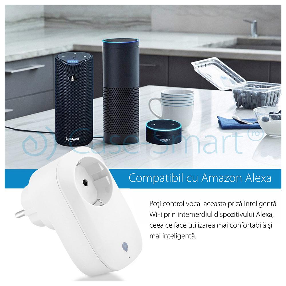 Priza inteligenta RedSun RS-SC71, monitorizare de energie, compatibil Alexa
