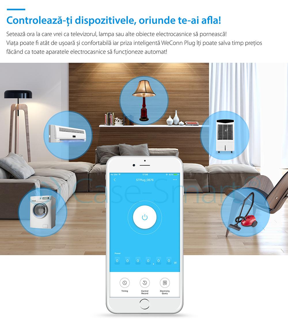 Priza inteligenta RedSun RS-SC71, monitorizare de energie, compatibil Alexa, Control de pe telefonul mobil