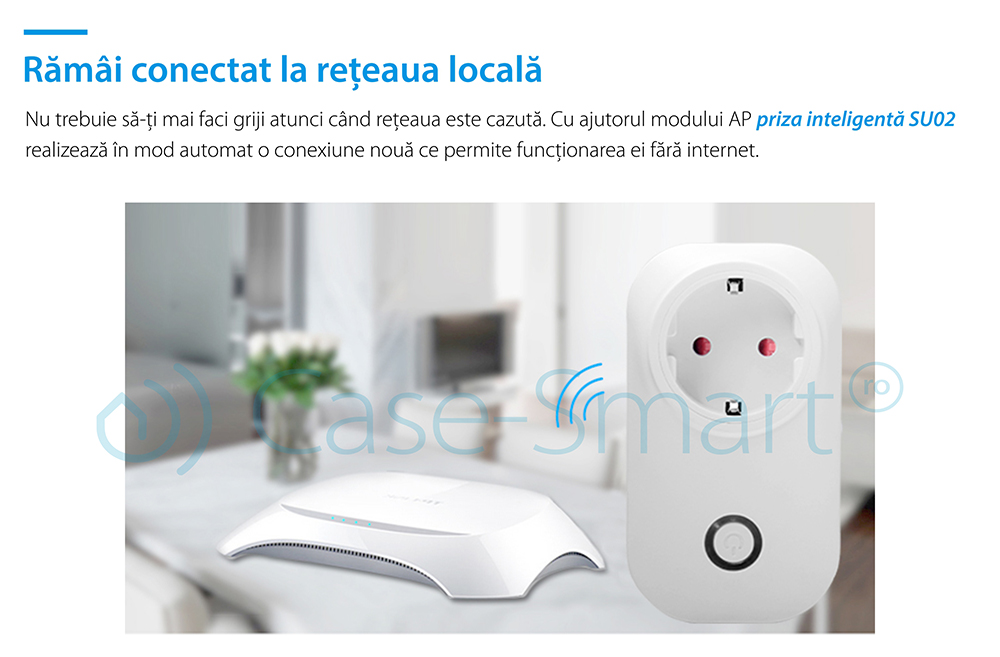 Priza inteligenta RedSun RS-SU02, monitorizare de energie, compatibil Amazon Alexa, Control de pe telefonul mobil