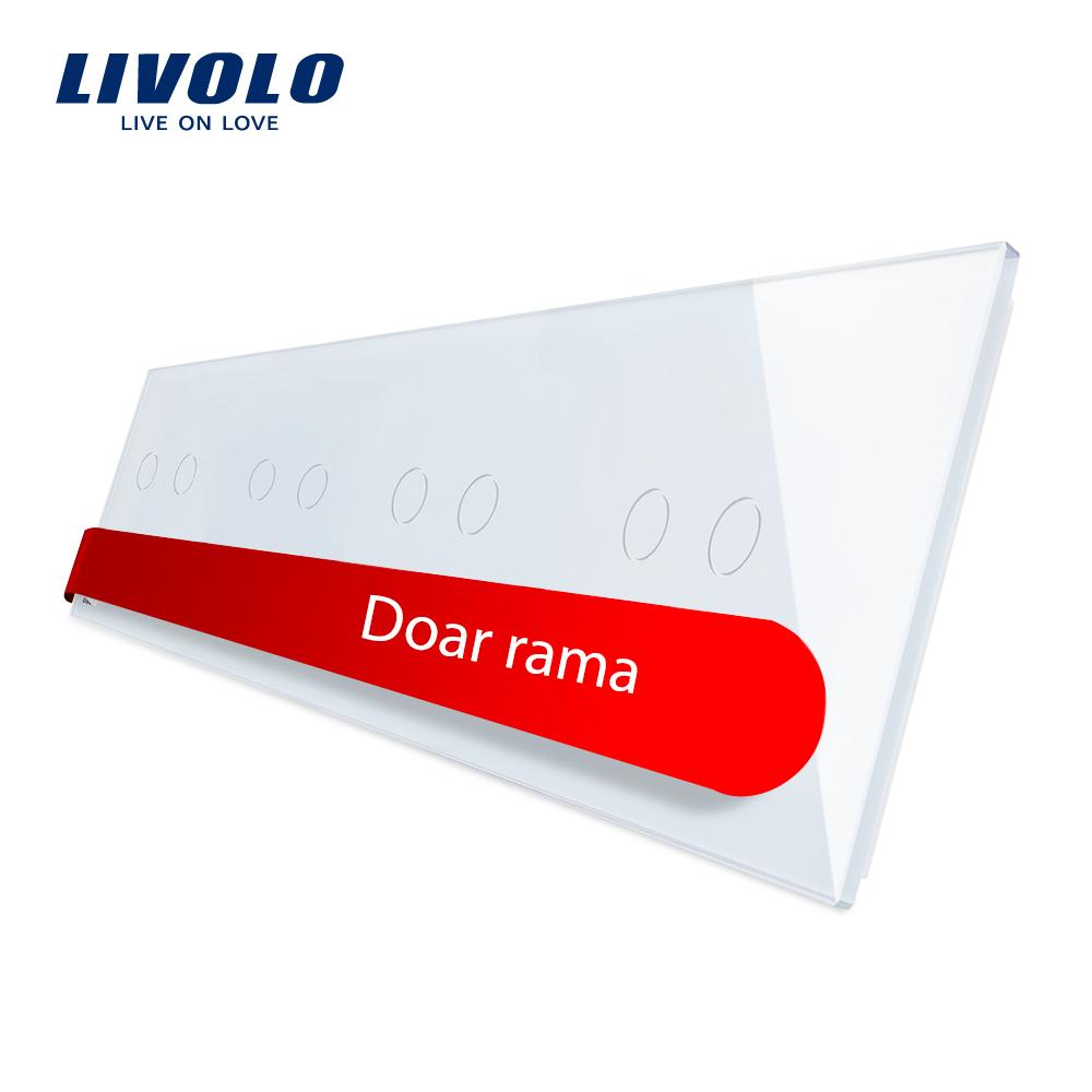 Panou intrerupator dublu+dublu+dublu+dublu cu touch Livolo din sticla imagine case-smart.ro 2021