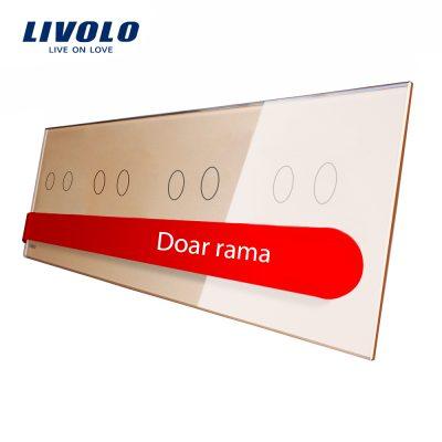 Panou intrerupator dublu+dublu+dublu+dublu cu touch Livolo din sticla culoare aurie