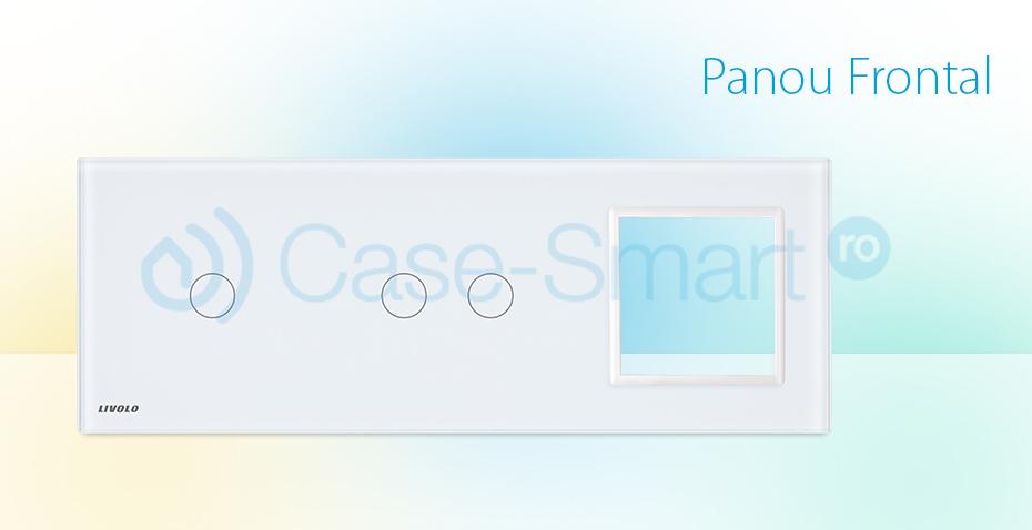 Panou intrerupator simplu+dublu+ priza Livolo din sticla