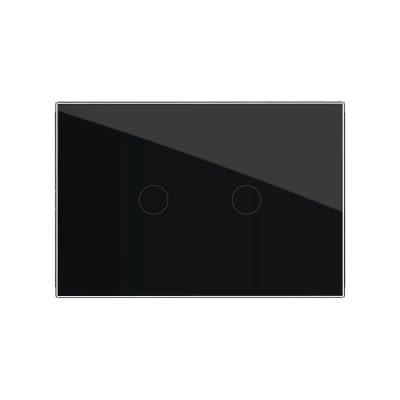 Intrerupator dublu cu touch Livolo din sticla, standard italian – Serie noua culoare neagra