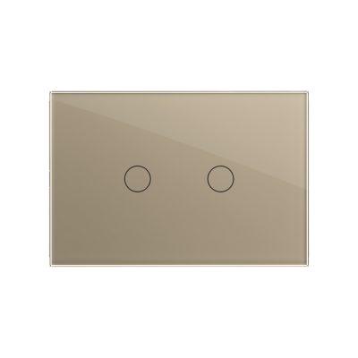 Intrerupator dublu cu touch Livolo din sticla, standard italian – Serie noua culoare aurie