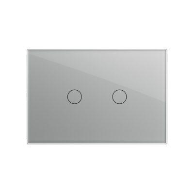 Intrerupator dublu cu touch Livolo din sticla, standard italian – Serie noua culoare gri