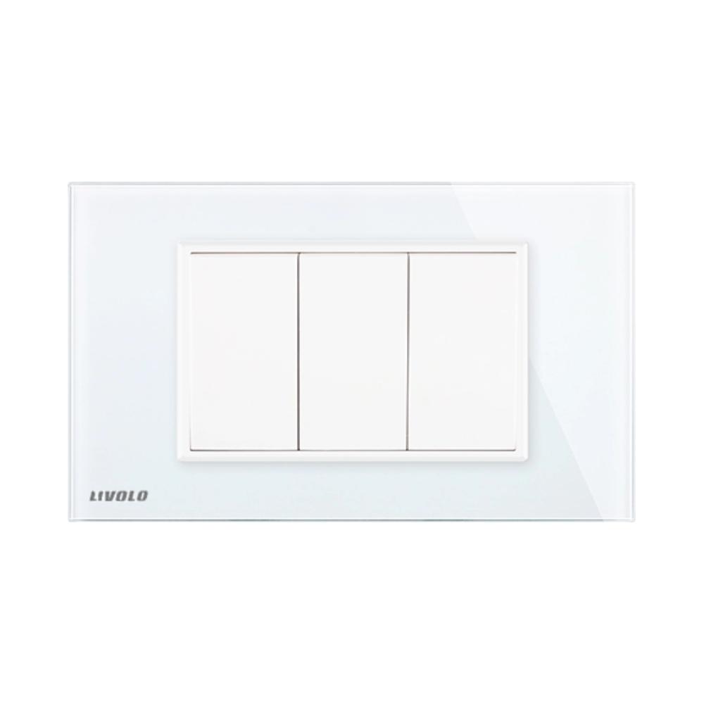 Priza blank – goala Livolo cu rama din sticla – standard italian imagine case-smart.ro 2021